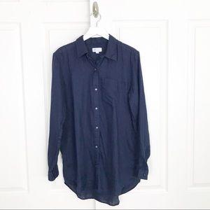 GAP Navy Boyfriend Fit Linen Shirt